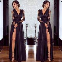 Cuisse festonnée sexy haute Split manches longues en mousseline de soie robe de soirée pas cher en dentelle noire col en V robes de bal classiques