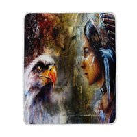 Patriotic Bald Eagle Indian Woman Blanket Soft Warm Cozy Bed...