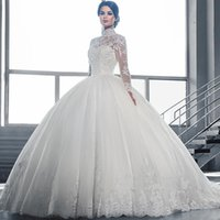 High Collar Sheer Long Sleeves Lace Ball Gown Wedding Dresse...