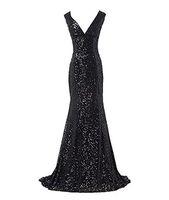 2018 Hot vente femmes paillettes sexy col en V robe de soirée sirène sans manches robes de bal robes occasions spéciales