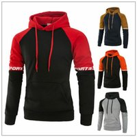 4 Colors Men M- 3XL Contrast Color Active Hoodie Men Stand Co...