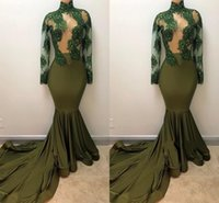 Elegant Olive Green Mermaid Evening Dresses High Jewel Neck ...