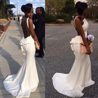 African Black Girl White Prom Dress Long Sexy Spaghetti Backless Sweep Train Party Dress Ruffles Evening Gown