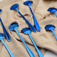 Stili di acciaio inossidabile placcato oro blu Petalo Cucchiaio Varietà Sakura Tipo Abbastanza Texture Caffè paletta di alta qualità 2 6wla X