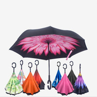 Katlanır Ters Şemsiye Çift Katmanlı Ters Rüzgar Geçirmez Yağmur Araba Şemsiye Kendini Standı Yağmur Koruma C-Kanca Araba Için Eller