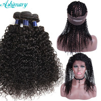 10A Brazilian Curly Hair Poduct Bundles With 360 Lace Fronta...