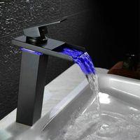 """10.6 """"Black Water Powered LED Rubinetto del bacino del bagno rubinetto Ottone Miscelatore Rubinetti cascata Hot Cold Crane Bacino Tap"""