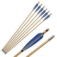 الرماية السهام الخشبية الريش الطبيعي رمح الصيد مع استبدال broadheads نصائح برغي في نقاط للحصول على أقواس انهاء الخدمة