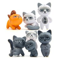 6pcs set 3- 4cm Cute Lovely Unhappy Cats Action Figure Toy Ch...