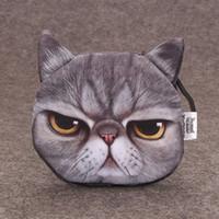 جولة مصغرة محفظة 3D مطبوعة لطيف القط الكلب الحيوان وجه عملة محفظة مع سحاب لينة أكياس رئيسية الإبداعية شحن مجاني