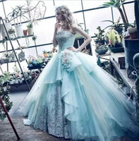 2018 Blue Ball Gown Quinceanera Dresses Custom Made Beaded O...