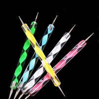 5pcs Nail Art Décoration Penting Stylo Set Acrylique 2 façons de marge de marge de marge des ongles de la peinture polonaise Manucure Dot Pens Kits