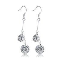 EH028 Dangle Lustre para presente brincos de cristal Coreano duplo shambhala rhinestone bola brinco mulher moda jóias