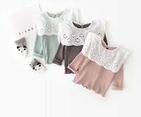 girl kids clothing long sleeved T shirt big hollow out turn ...