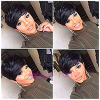 Hot sale Full Machine made lace wig pixie none lace Wigs Sho...