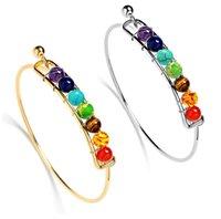 Yoga Chakra Bracelet en pierre Argent Or Pierre Naturel Bracelet Beads Reiki Spirituel Bouddha Bijoux pour Femme Enfants 4 Couleur