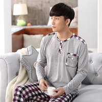 Men Cotton Pajamas Sets Casual Home Clothing Long Sleeve Rou...