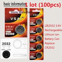 100 stücke 1 los LIR2032 3,6 V Lithium li-ion wiederaufladbare knopfzelle 2032 3,6 Volt li-ion münzbatterien CR2032 VSAI Freies Verschiffen