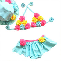 Handmade Floral Swimsuit For Girls Two Piece 1- 9Years Childr...