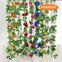 220 cm flores artificiales de seda rosas rosas hiedra vid con hojas verdes para bricolaje decoración de la boda en casa hoja falsa colgando guirnalda