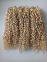 브라질 인간 버진 레미 킨키 곱슬 머리 위사 금발 색상 처리되지 않은 아기 소프트 더블 그린 슈트 확장 100g / 번들 제품