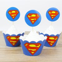 1set Superman Party Paper Cupcake wrappers toppers for kids ...