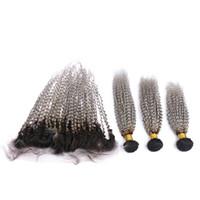 Ombre argento grigio peruviano crespi ricci capelli umani trame con frontale # 1B / grigio ombre tessuto dei capelli vergini fasci con chiusura frontale in pizzo 13x4