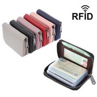 Cartera de cuero con tarjeta de crédito con cremallera, Porta tarjetas de crédito de cuero genuino con bloqueo RFID ¡Cartera pequeña de acordeón! NUEVA Y MODA