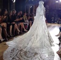 Люкви Zuhair Murad 2 уровня длинные 5 м * 3 м собора кружева края свадебные свадебные вуаль бесплатная доставка