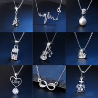 Lot Women Fashion Heart Silver Chain Pendant Necklace Jewelr...