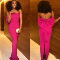 Strapless Fuchsia Prom Dresses Black Girls Sexy Backless Spl...