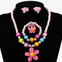 Kids Girls Imitation Pearls Jewelry Sets Beaded Sun Flower N...