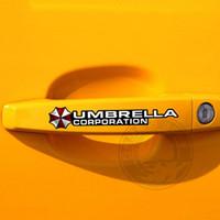 Universal 4 teile / satz Umbrella Corporation Resident Evil Griff Türklinke Aufkleber Und Abziehbilder Auto-styling Für Alle Auto Zubehör