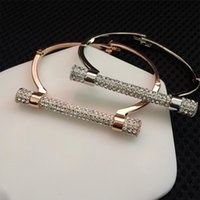 Wholesale- Luxury Crystal Horseshoe Cuff Bracelets Brand Ban...