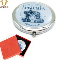 100pcs/lot Custom Your LOGOs Round Makeup Mirrors & Gift Box Silver Make up Compact Mirror Customized Logo 70*70mm Promotional Gifts