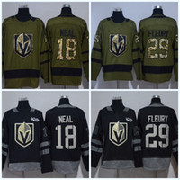 100 Aniversario Vegas Golden Knigh # 18 James Neal # 29 Marc-Andre Fleury #Blank Army Green bordado Nuevo Logo Jerseys de hockey sobre hielo