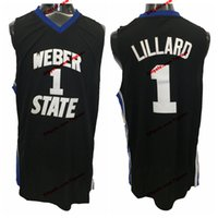 Vintage Damian Lillard Weber State Wildcats College Basketball Trikots Herren # 1 Genähte Hemden Schwarzer Trikot S-XXL
