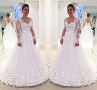 Size Long Sleeves Ball Gowns Wedding Dresses Sexy V Neck Lac...