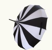 Paraguas Pagoda de moda Paraguas victoriano de boda victoriana con rayas blancas y negras, envío gratis