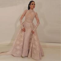 2020 High Neck Sereia vestidos de baile vestidos destacável blush cor-de-rosa cor-de-rosa ilusão appliqued corpete corpete longas mangas longas vestidos de noite formal BA9531