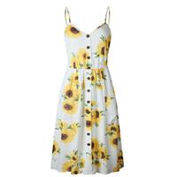 Yaz Elbise Kadınlar Çiçek Baskı Elbise V Yaka Kolsuz Spagetti Askı Backless Seksi Elbise N30
