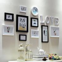 Moderno Marco de fotos de madera 10 Cajas Familiares Marcos de fotos de bodas Página de inicio de la pared Álbum Sección Colgante Decoración INICIO Carta Dormitorio Decoración