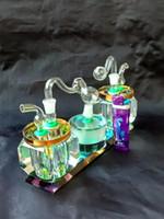Двойной Хрустальный горшок Оптовая стеклянные бонги масляная горелка стеклянные водопроводные трубы нефтяные вышки курительные вышки
