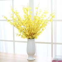 Orquídea amarela Flores artificiais falso Dança Senhora Orquídea Flor De Seda Casa Decoração de casamento Longo Haste com Pétala mesa de flores centrais