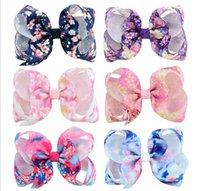 4 pulgadas de los bebés arquea el clip Hairclips horquillas de flores grosgrain de la cinta del Bowknot impresos horquilla accesorios de pelo de los niños sombreros A28