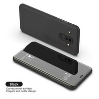 50 unids Luxury Mirror Clear View Case para Samsung Galaxy A8 Star A9 A9 Star Star Lite cubierta del teléfono Base de galjanoplastia soporte vertical