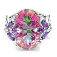 뜨거운 결혼 반지 호화로운 숙녀 보석 신비 무지개 지르콘 보석 수정 공주는 다이아몬드 반지 교전 보석을 삭감했다