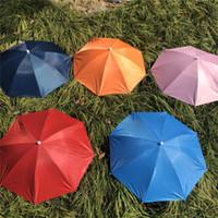 55cm Regenbogen Regenschirm Hut Kappe Falten Frauen Männer Regenschirm Fischen Wandern Golf Strand Kopfbedeckungen Hände frei Regenschirm