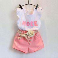 3pc Toddler Kids Baby Girls Print Puff sin mangas T-Shirt + Shorts + Flower Belt Outfits Conjuntos de ropa ropa para niñas pequeñas