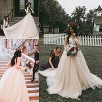 Классические Розовые Румяна Свадебные Платья Страна Старинные Бальные Платья Иллюзия Цветочные Аппликации С Длинным Рукавом Кружева Свадебное Платье Из Китая Плюс Размер